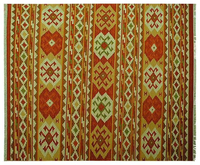 Hand Woven 100% Wool Flat Weave Geometric Anatolian Kilim Area Rug Sh6521 traditional-rugs
