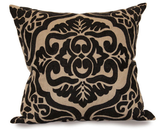 Kathy Kuo Home - Verdun Black Dark Natural Square Hand Embroidered Pillow - Hand embroidered pillows in linen and silk are sumptuously oversized and generously filled with down and feathers - tossed on a bed or a gathered on a sofa, create a lasting personal touch.