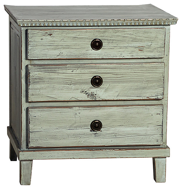 Soren Nightstand Distressed Grey Transitional