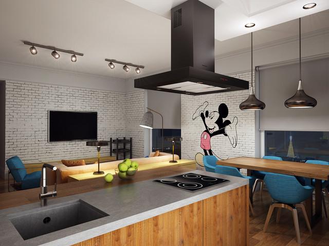 "flat (""Loft"") contemporary-kitchen"