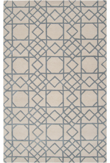 Chinese Chippendale Plush Wool Rug Blue traditional-rugs