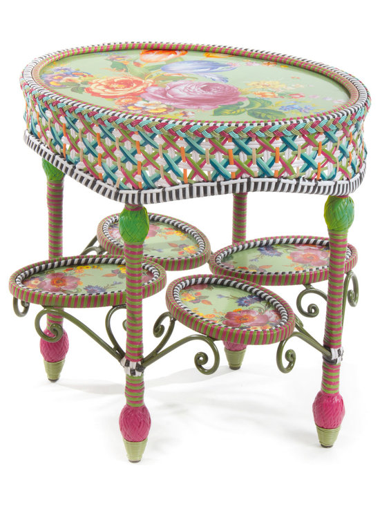 Greenhouse Outdoor Oval End Table | MacKenzie-Childs - The glorious hues of summer inspire the Greenhouse Collection, intricately hand-woven in classic garden shades of teal, green, pink, white, and orange. This oval end table features inset Flower Market enamelware panels and black and white accents all around. Sturdy, easy care, and made to withstand the elements. Hand-woven resin wicker, powder-coated metal accents, solid iron frame.