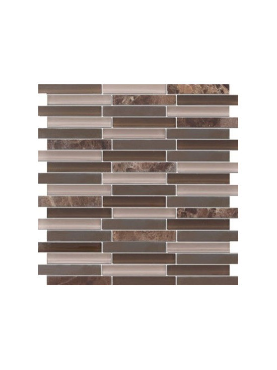 Zen Dark Emperador Random Bricks Marble & Glass Tile - Random Bricks Pattern Zen Dark Emperador Polished & Froasted Mesh-Mounted Marble & Glass Mosaic Tile is a great way to enhance your decor with a traditional aesthetic touch. This Mosaic Tile is constructed from durable, impervious Marble & Glass material, comes in a smooth, unglazed finish and is suitable for installation on floors, walls and countertops in commercial and residential spaces such as bathrooms and kitchens.