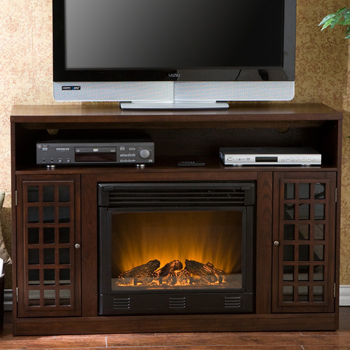 Bismark 48 Tv Stand With Electric Fireplace Modern Indoor Fireplaces By Wayfair