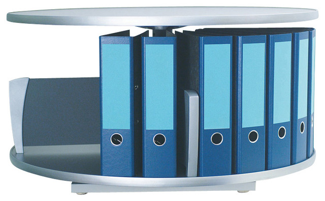 Moll Deluxe Desktop Binder Storage Carousel - One Tier in Graphite Wood - Traditional - Filing ...