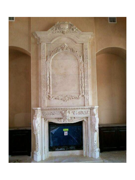 Installations - Dramatic hand carved marble mantle with over mantle