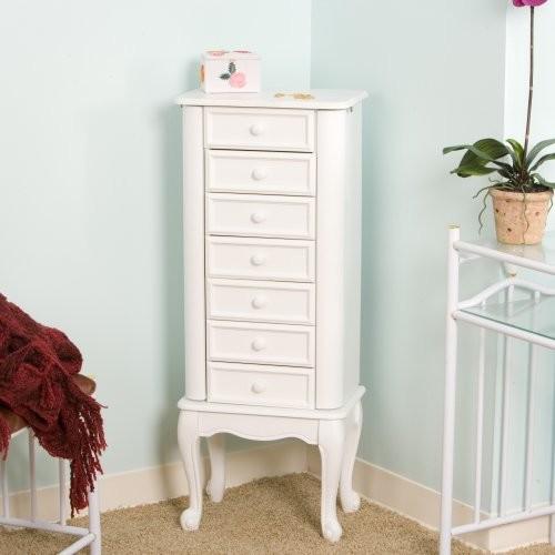 White Elegance Jewelry Armoire Traditional Dressers