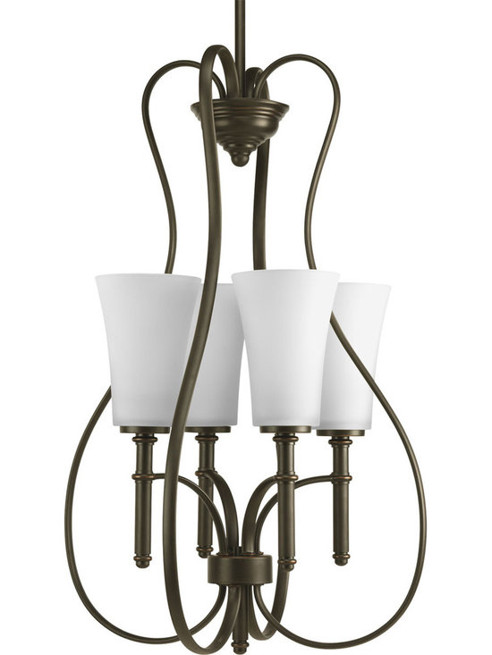 Progress Lighting, Hall&Foyer, 4 light, Hall & Foyer - Four-light foyer fixture with slim opal white glass shades and flowing arms for a sassy appeal.