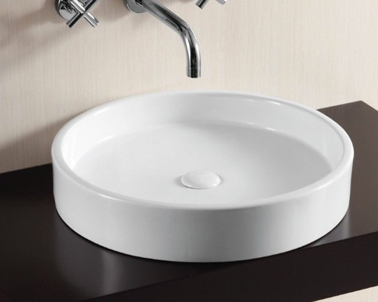 "Caracalla - Stylish Circular White Ceramic Vessel Bathroom Sink - Stylish circular above counter vessel bathroom sink made of high quality white ceramic. Designed in Italy by Caracalla. Modern vessel sink comes with a shallow basin, no overflow, and no faucet hole. Sink dimensions: 20.47"" (width), 4.13"" (height), 20.47"" (depth)"