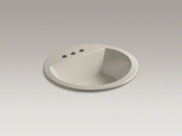 """KOHLER Bryant(R) round drop-in bathroom sink with 4"""" centerset faucet holes contemporary-bathroom-sinks"""