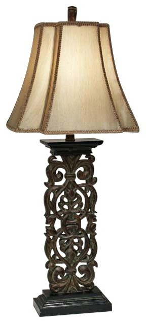 Natural Light Elephant Walk Wood Finish Table Lamp traditional-table-lamps