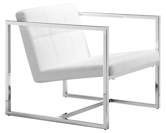 "Zuo - Zuo Carbon White Leatherette and Chrome Frame Chair - A shiny chrome finish frame and white leatherette cover create a stylish contrast in this eye-catching chair design. Great as an office chair or living room chair. Chrome finished steel frame. White leatherette cover. 25 1/4"" wide. 26 1/2"" high. 28 1/4"" deep.  Chrome finished steel frame.   White leatherette cover.   25 1/4"" wide.   26 1/2"" high.   28 1/4"" deep."