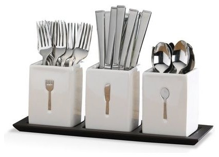 Blakely 36 Piece Flatware Set w/Caddies - contemporary - flatware