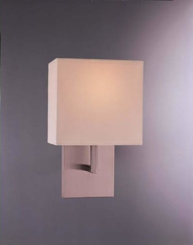 Sconces Brushed Nickel One-Light Wall Sconce with White Fabric Shade contemporary-wall-sconces