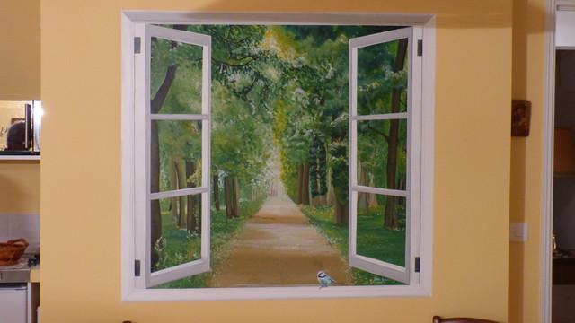 Peinture d corative dans chambre d 39 h te farmhouse for Peinture decoration