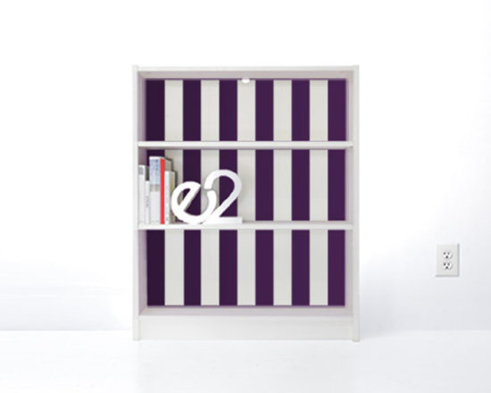 PANYL Violet Thick Stripes for IKEA BILLY - Give your bookcase a bold new look with PANYL Thick Stripes. Easy to apply and no mess!