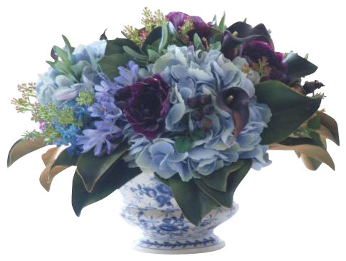 Hydrangea/Lilac In Ceramic Pot Flower Arrangement traditional-artificial-flowers-plants-and-trees