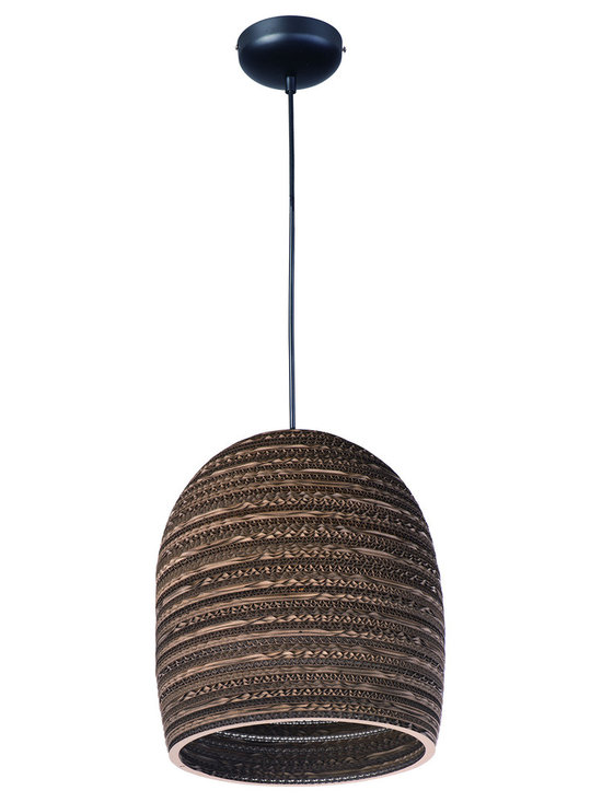 Maxim Lighting - Java 9104 Pendant - Java 9104 Pendant features the raw beauty of recycled and repurposed cardboard in alternating opaque and translucent layers in a Black finish.  One 60 watt 120 volt A19 type Medium base incandescent bulb is required, but not included. Comes with 10 feet of cord. UL listed. 10.5 inch width x 12 inch height x 132 inch maximum length.