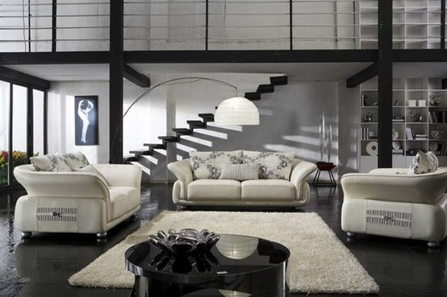 Leather Sofa Set with Throw Pillows modernlivingroomfurnituresets