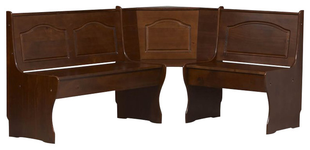 Linon Chelsea Kitchen Dining Nooker Corner Unit in Walnut transitional-dining-benches