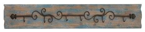 Curved Metal Wall Hooks of Six Attached on MDF Wood Wall Rectangular Plaque rustic-wall-hooks
