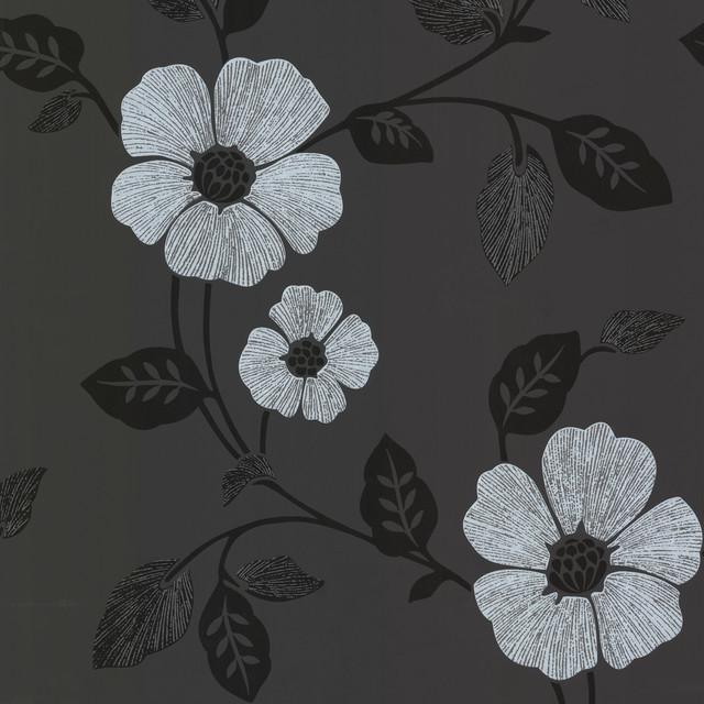 Zync Black Modern Floral Wallpaper Contemporary