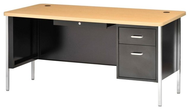 Sandusky Desks 600 Series Single Pedestal Steel Desk Powder Coated ...