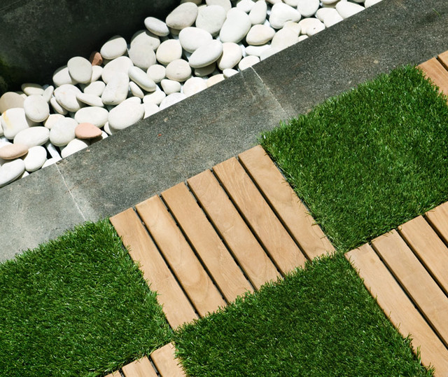 Garden Tiles Rustic and Artificial Grass