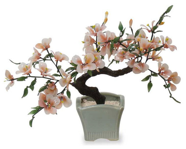 Glass Bon Zai Tree Asian Artificial Flowers Plants And