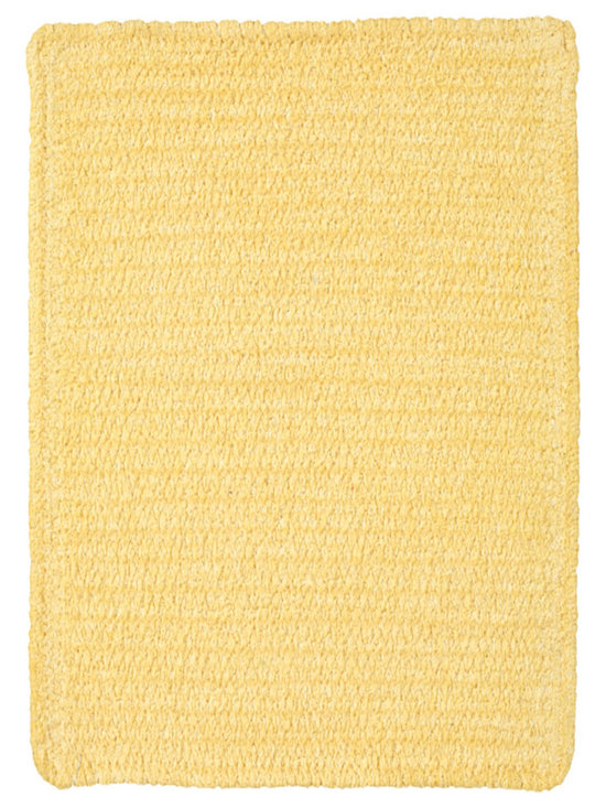 Chenille Creations rug in Yellow - Create a comfy, cozy, and custom-made braided rug with Capel's Chenille Creations.  Strands of plush, all-natural, ultra soft cotton chenille weave together to create a soft and vibrant room accent.