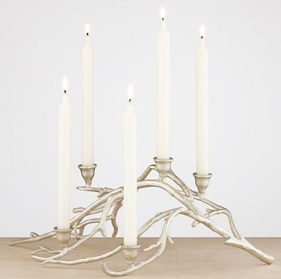 Silver Twig Taper Candle Centerpiece eclectic
