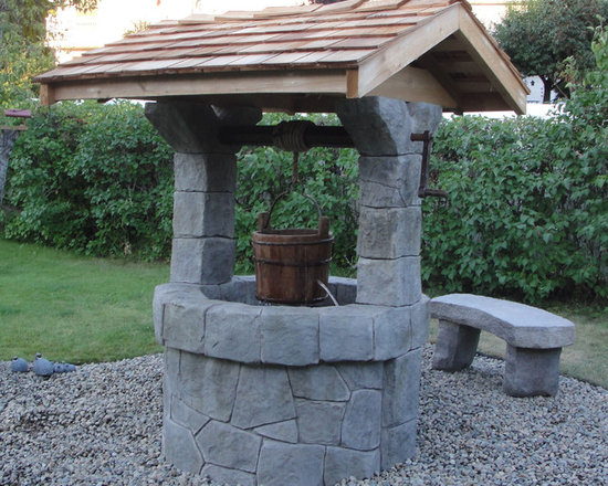 Concrete Water Features - Hand Carved Concrete Wishing Well