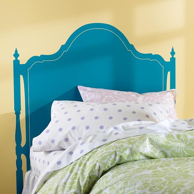 Aqua olivia headboard decal modern wall decals by for Mural headboard