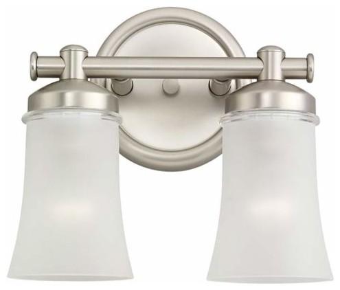 Newport Antique Brushed Nickel Two-Light Bath Fixture contemporary-bathroom-lighting-and-vanity-lighting