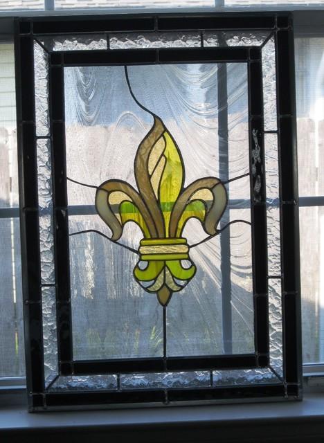 Fleur De Lis Stained Glass Panel