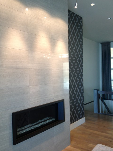 Living room fireplace feature wall contemporary vancouver by l l applications - Feature wall ideas living room with fireplace ...