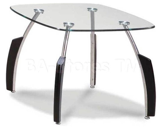 Glass Top End Table with Black Base - Global Furniture USA - Sleek and stylish , the Glass Top End Table will accentuate any decor. Featuring curved metal legs with wood accents and a bottom level surface with a frosted finish, this table will be a sure conversation starter. Enhance your room decor with this stunning end table!