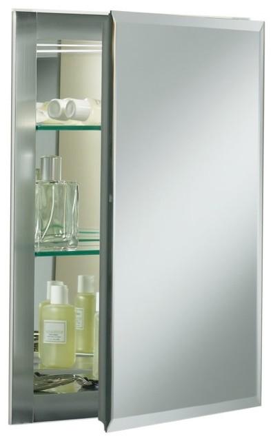 KOHLER K-CB-CLR1620FS Aluminum Single-Door Cabinet with Square Mirrored Door contemporary-medicine-cabinets