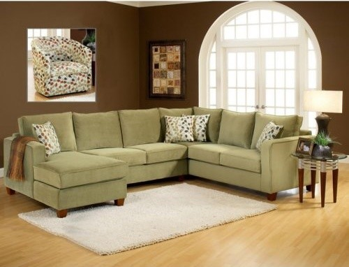 Chelsea Home Bailey 3 Piece Sectional - Bella Lichen modern-sectional-sofas