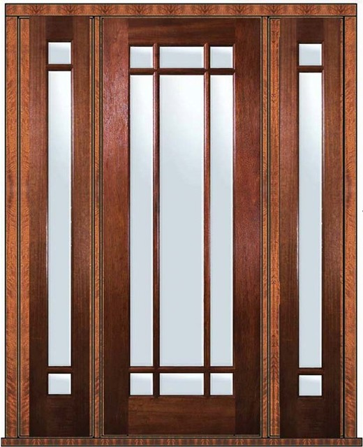Pre Hung French Sidelites Door 96 Wood Mahogany 9 Lite
