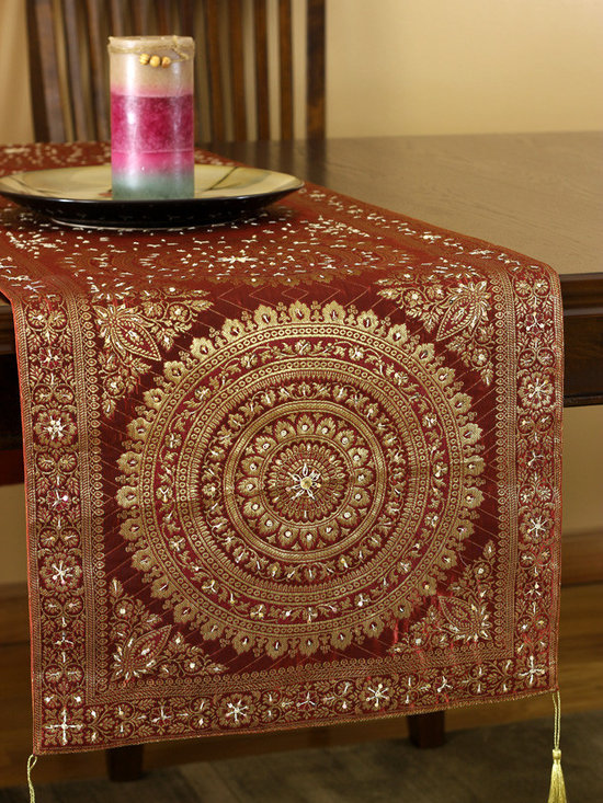 Elegant Table Runners - Hand embroidery and Oriental table runner design. Made in India. Gorgeous Golden Orange color. Elegant complement to any room.