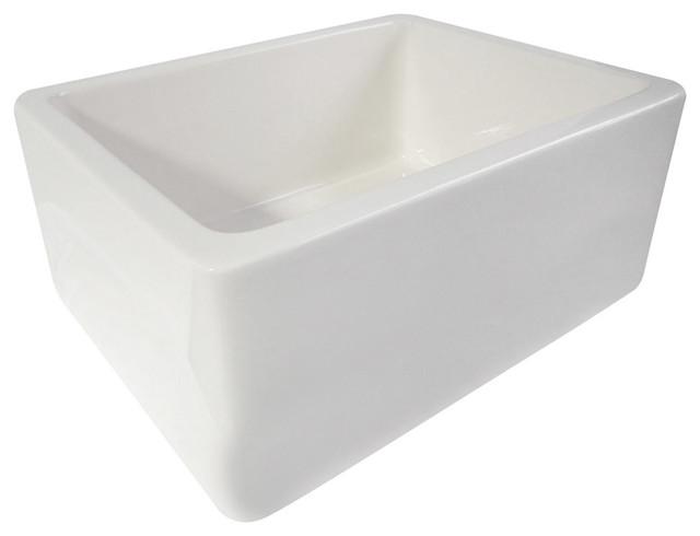"""White 24"""" Single Bowl Thick Fireclay Farmhouse Kitchen Sink with Smooth Apron farmhouse-kitchen-sinks"""
