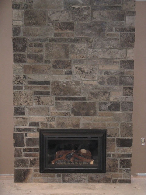 stone veneer directly over existing brick fireplace traditional
