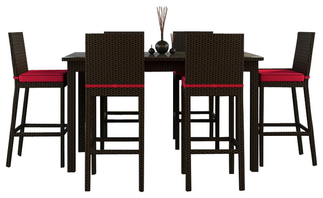 Barbados 7 Piece Modern Patio Bar Set, Flagship Ruby Cushions modern-patio-furniture-and-outdoor-furniture