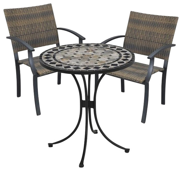 Home Styles Marble Bistro Table & 2 Newport Arm Chairs in Black ...