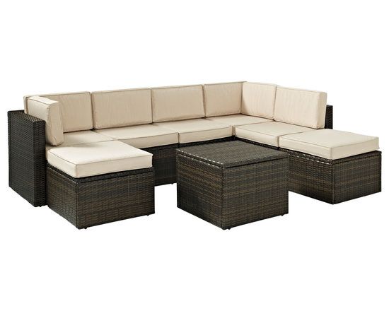 Crosley - Palm Harbor 8-Piece Outdoor Wicker Seating Set - Enjoy entertaining outside with our elegantly designed all-weather outdoor resin wicker sectional set. This finely crafted collection features intricately woven wicker over durable steel frames and UV/Fade resistant cushions providing both comfort and style. This set is sure to provide lasting enjoyment in any outdoor setting. Includes two corner chairs, three center chairs, an ottoman and a coffee sectional table.