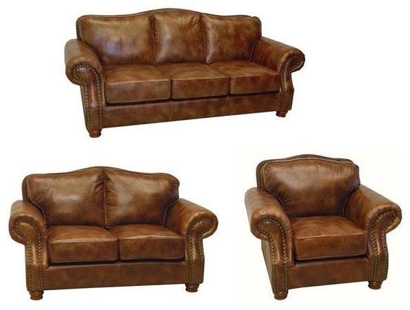 Brandon Distressed Whiskey Italian Leather Sofa Loveseat