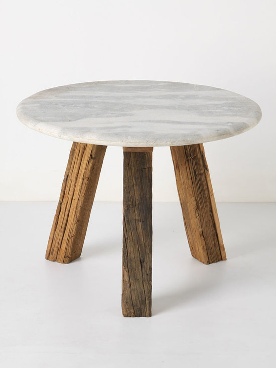 Marble-Top Side Table - Reclaimed wood legs support an unsealed, sandblasted white marble top, for the perfect touch of rustic refinement.