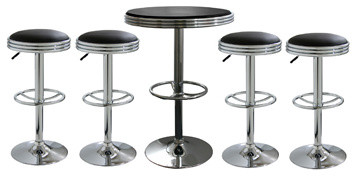Amerihome 5-Piece Soda Fountain Style Bar Set  - Black modern-bar-stools-and-counter-stools