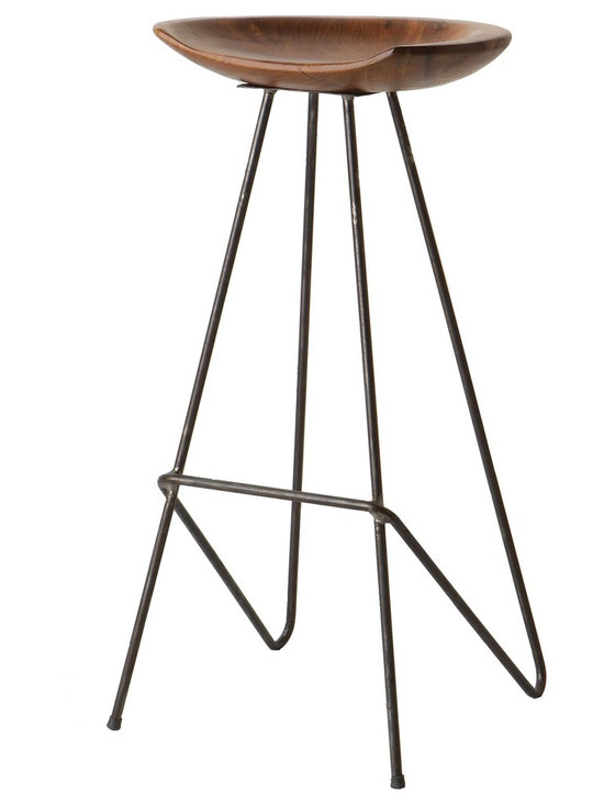 Scoop Barstool - Elegant, Refined and Reclaimed. Our Scoop Barstool is hand-crafted from solid teak in to a smooth polished seat and sleek contemporary steel base.